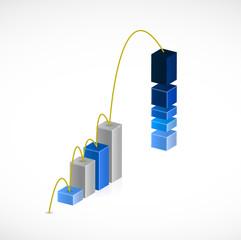 business graph jump illustration design