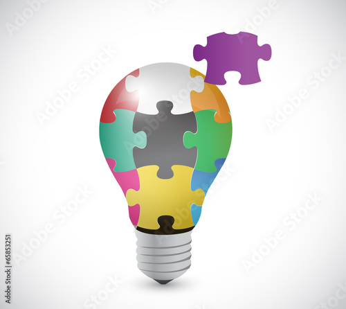 light bulb puzzle pieces illustration design