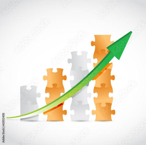 orange puzzle pieces graph illustration design
