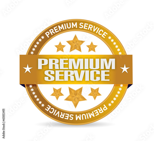premium service gold seal illustration design