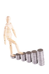 wooden man goes on coins