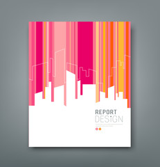 Cover Magazine Silhouette building colorful background