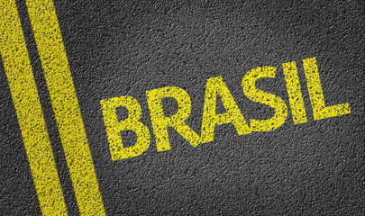 Brasil written on the road (in portuguese)