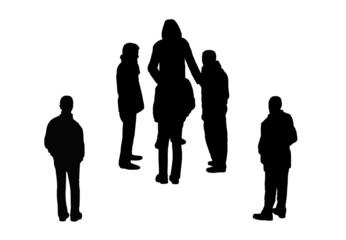 people walking top view silhouettes set 8
