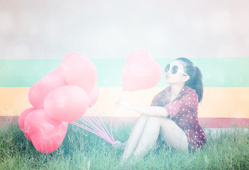 Girl With Colorful Heart Balloons ,For Valentines Day Concept