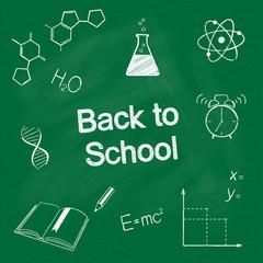 Hand drawn school items chalked on blackboard