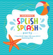 Birthday card invitation summer fun splash pattern vector