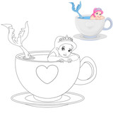 Fototapety Mermaid in a Cup Coloring Book Page