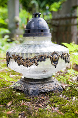 Vintage lamp on cemetery