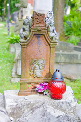 Vintage lamp on old cemetery