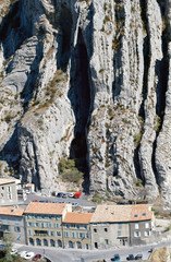 Sisteron city and stone cliffs in France