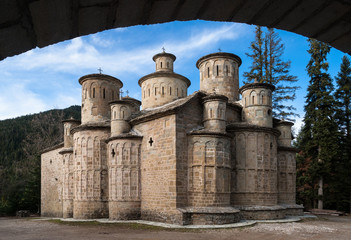 The Church of Holy Cross with its 13 domes in Thessaly, Greece
