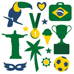 Set of Brazilian symbols and icons, vector
