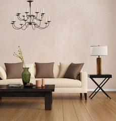 Brown contemporary style, romantic interior living room