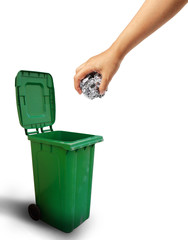 Hand throwing paper recycle into the trash