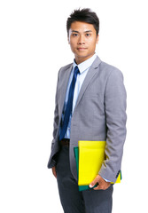 Business man with yellow folder