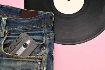 Jeans and vinyl background