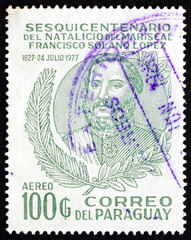 Postage stamp Paraguay 1977 Marshal Francisco Solano Lopez