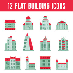 12 Building Icons Set in Flat Design Style