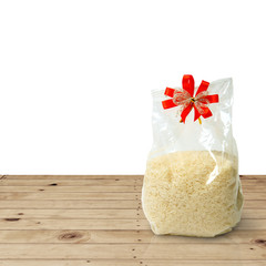 White long rice in package plastic bag with clipping path.