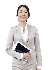 asian businesswoman with tablet computer