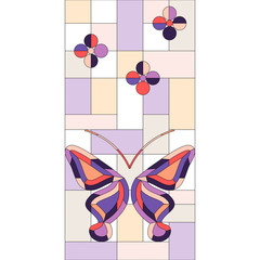 stained glass window background with butterflies