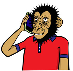 Monkey and smart phone vector