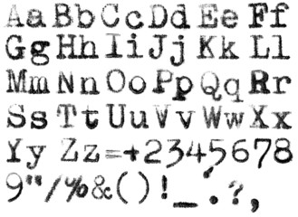 isolated typewriter alphabet