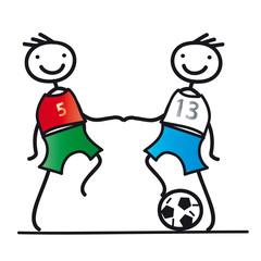 Zwei Fußballer beim Anpfiff