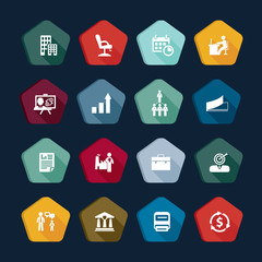 Business icons set, finance buttons collection
