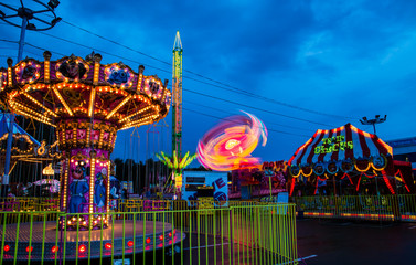 Amusement park in the evening