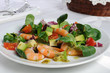 Salad of watercress salad with shrimp and avocado