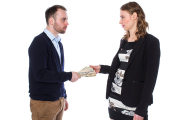 Businessman handing money to woman