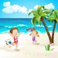 Summer beach with cartoon starfish and umbrella