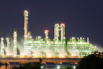 Oil refinery at night sky