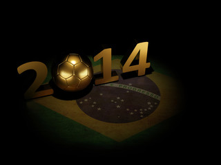 Brazil 2014, Soccer ball on Brazilian flag