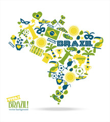 Brazil background. Illustration map of Brasil.