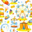 Leinwandbild Motiv Amusement park seamless pattern