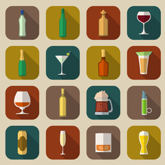 Alcohol Icons Flat