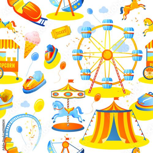 Papiers peints Attraction parc Amusement park seamless pattern