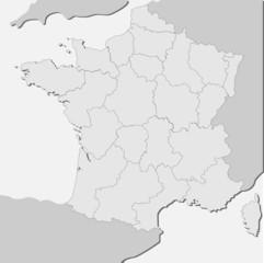 Landkarte von Frankreich in grau