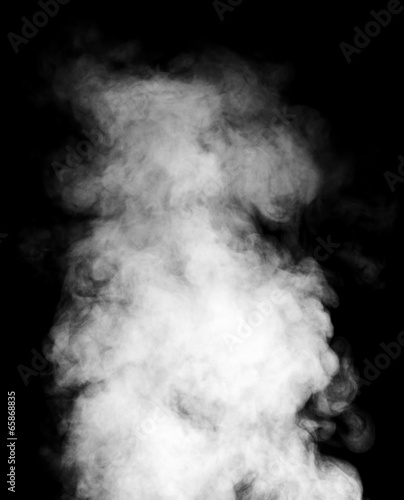 Foto op Canvas Rook White steam on black background.
