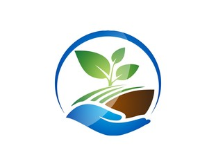 plant logo,hand symbol,global nature