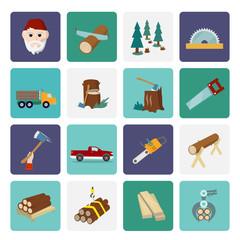 Lumberjack icon set flat