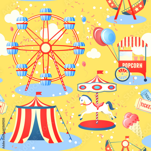 Amusement park seamless pattern - 65869038