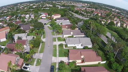 Suburban homes in Florida aerial view