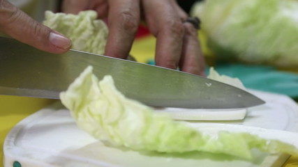 HD Chopping or Slicing  Vegetable close up on Cutting Board