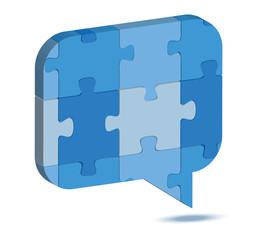 talk balloon icon in puzzle