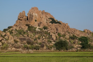 Beautiful granite mountain in Hampi, India