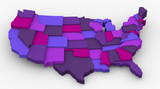 USA purple map image. Concept color for royalty poster